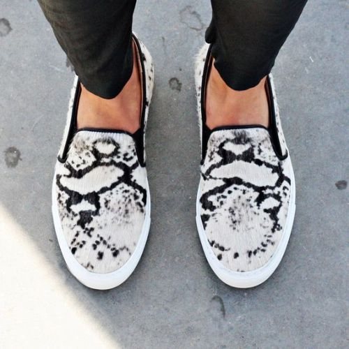 animal print slip on