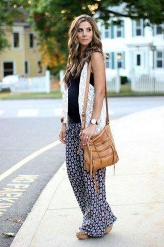 bohemian tribal wide leg pants