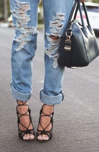 boyfriend jeans with lace up heels
