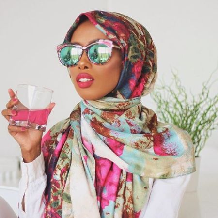 colorful hijab scarf with mirror sunnies