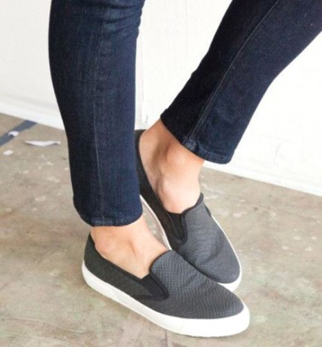 leather black slip on