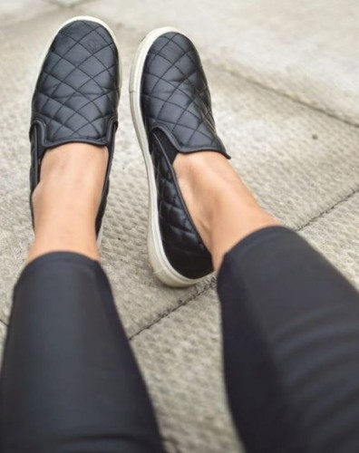 leather black slip on sneaker