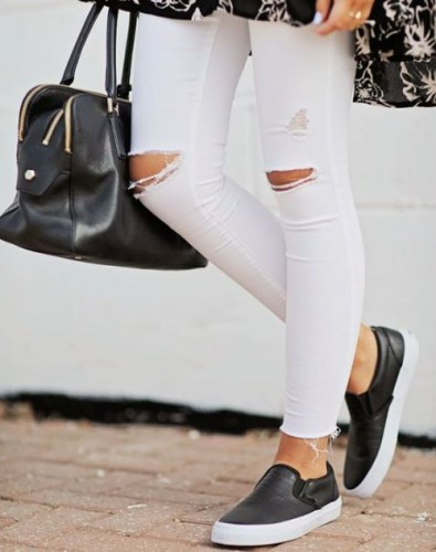 leather black slip on with white pants