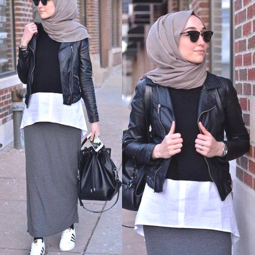 leather jacket hijab outfit