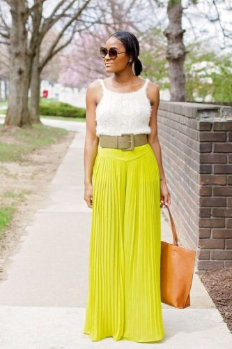 lime pleated palazzo pants look