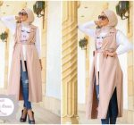 Long cardigans and vests hijab trends