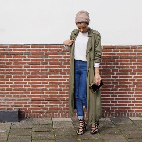 long trench jacket hijab outfit