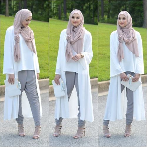 long white lace cardigan hijab outfit
