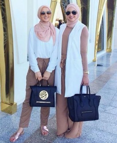 pastel top with white vest hijab