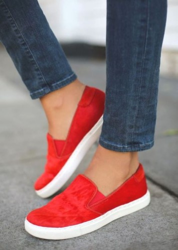 red slim on shoes
