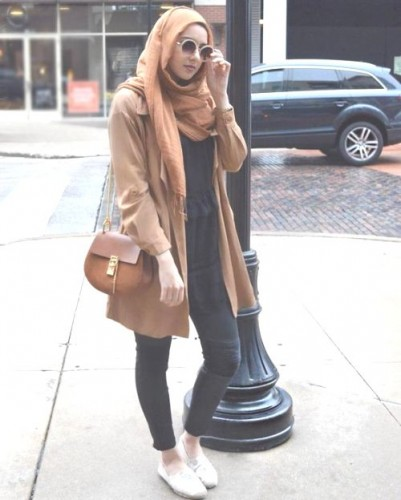 tan coat with hijab