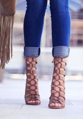 tan lace up heel