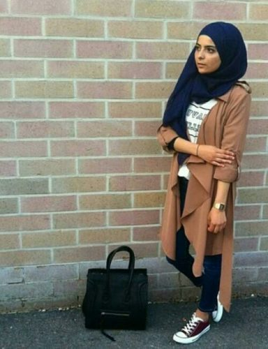 tan trench jacket hijab sporty look