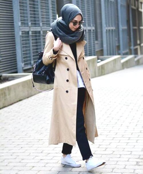 trench coat hijab outfit