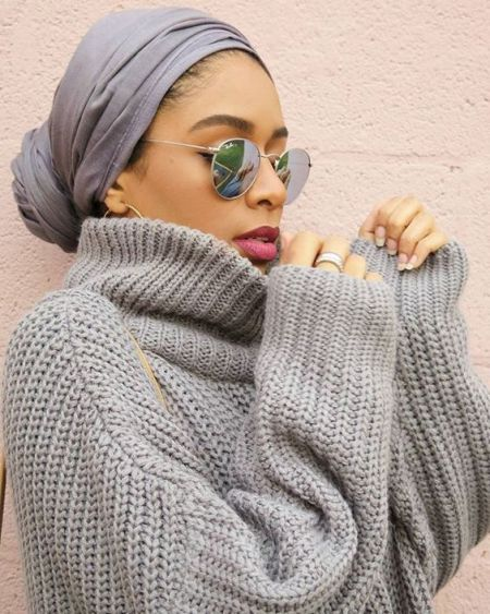 turban style with high neck sweater