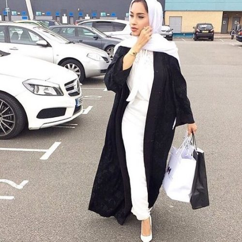 black abaya with white outfit