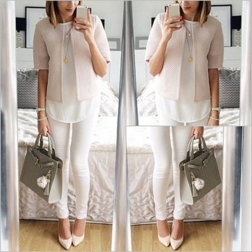 blush and nude outfit