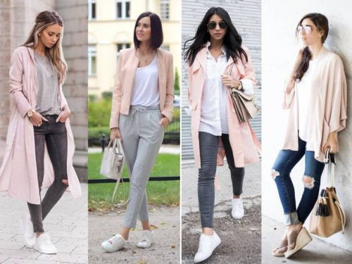 blush with gray outfits