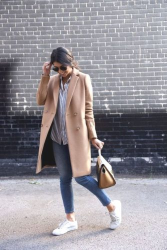 camel coat with adidas