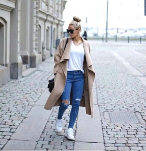 camel maxi coat with adidas