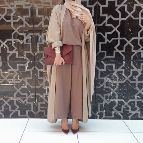 earthy tones Abaya hijab fashion