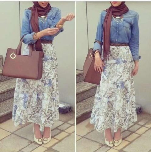 floral maxi skirt denim shirt