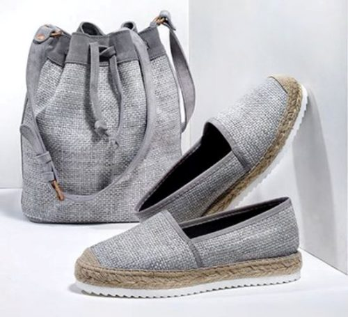 gray canvas espadrille and buket bag
