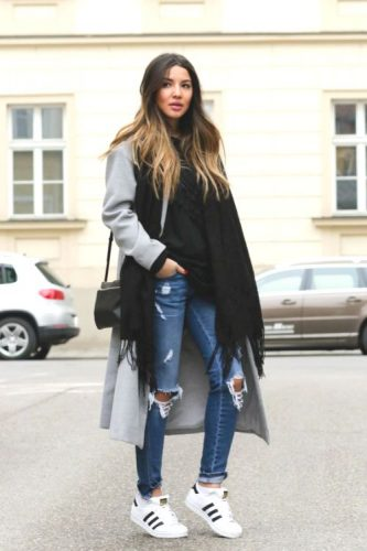 long gray coat with adidas