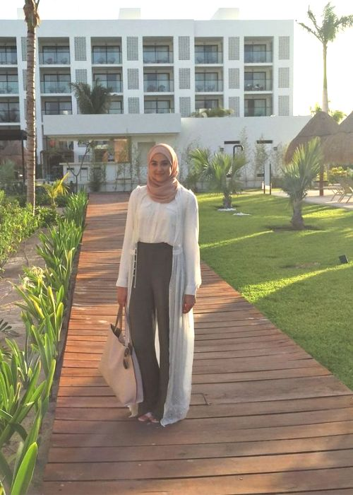 long lace cardigan hijab outfit