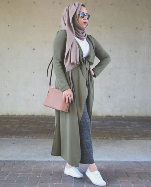 long olive cardigan neutral hijab
