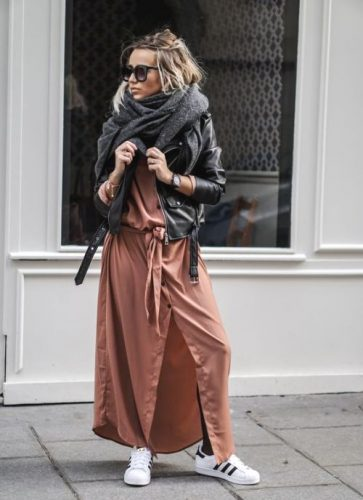 long rust shirt dress with adidas