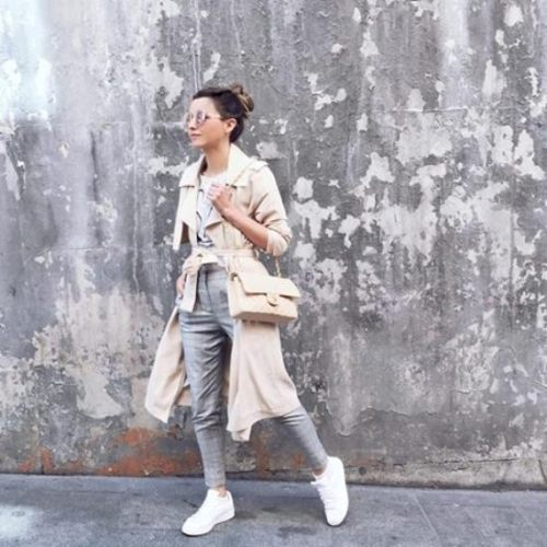 pastel neutral outfit with adidas