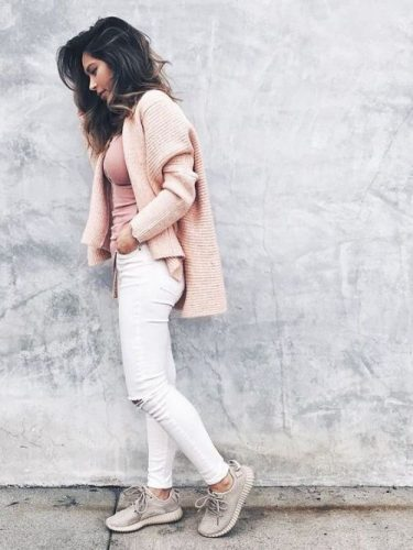 pink blush cardigan adidas shoes style