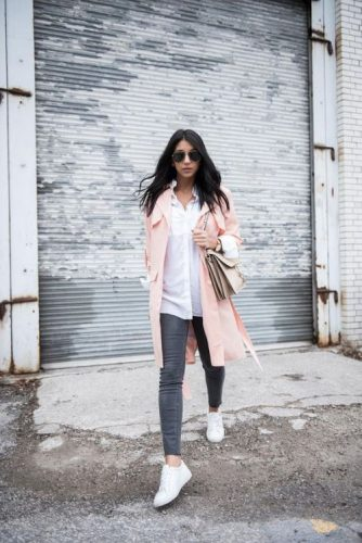pink long coat adidas shoes outfit