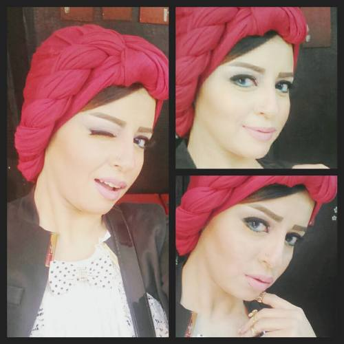 red turban girly look