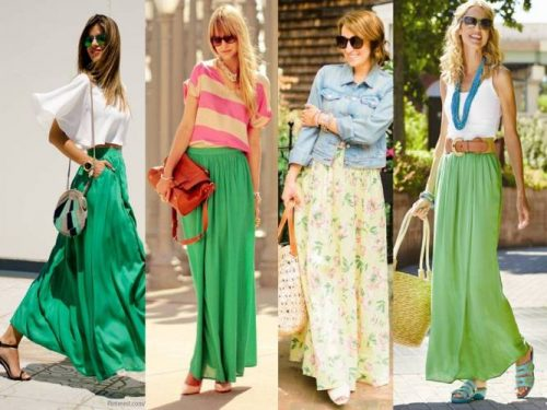 How to wear green skirt