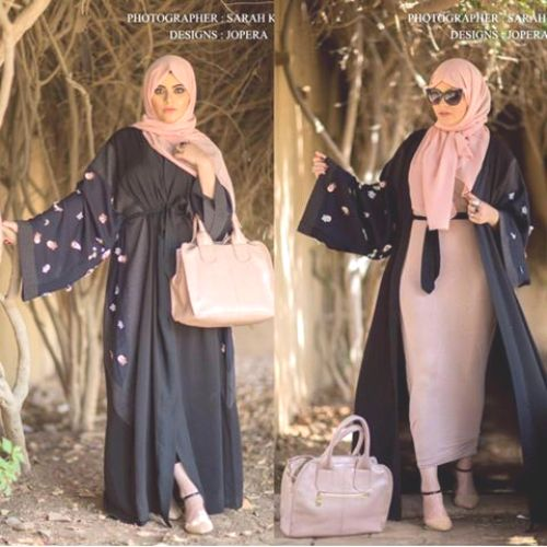 abaya cardigan with pencil dress