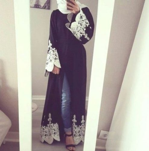 abaya fashion with lace details
