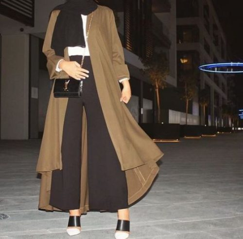 abaya paired with palazzo pants