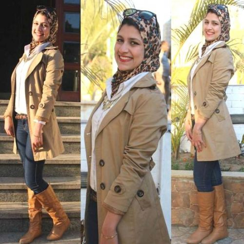 beige trench coat hijab look