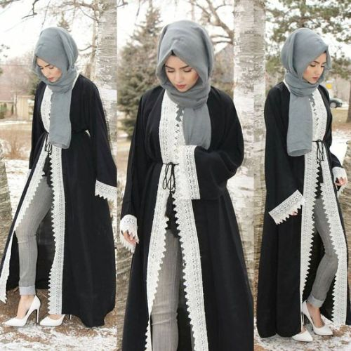 black open abaya with lace details