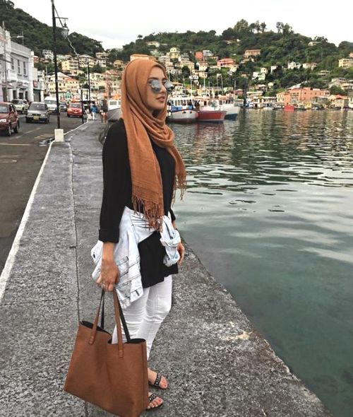 black with tan hijab outfit