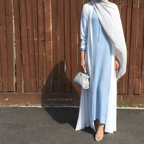 blue and white abaya