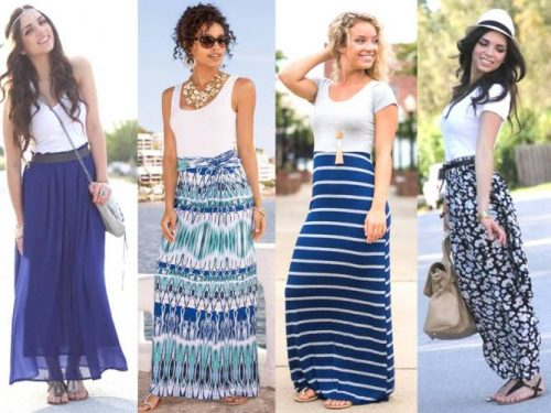 blue and white skirts and tops