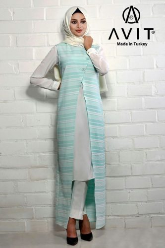 blue long vest hijab avit