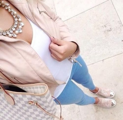 blush casual blazer outfit