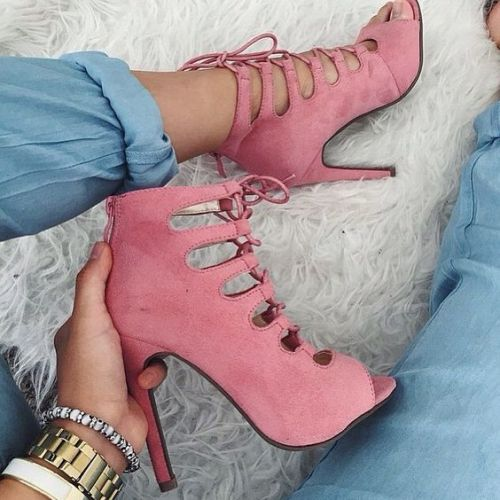 blush lace up heels