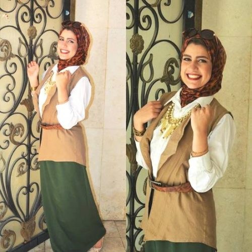 cargo vest with green skirt