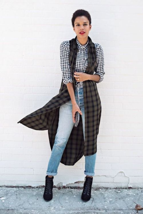 checked shirt with black vest