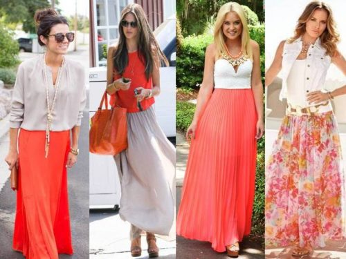 coral and neutral outfits